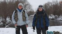 Твичинг Мишин и Питерцов на малой реке зимой